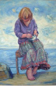 Girl with Bluebirds.  Oil on board. 2006.