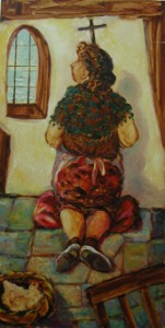 'Prayers'. Oil on board.1991. 14 x 27 inch.