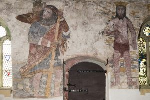 St Christopher. Mural, St Breaca church. Breage, Cornwall.