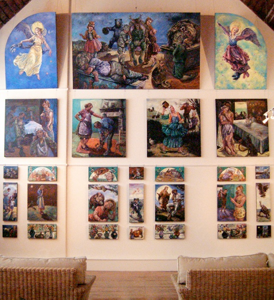Topsham Devon: A wall of 28 paintings illustrating Aesops Fables