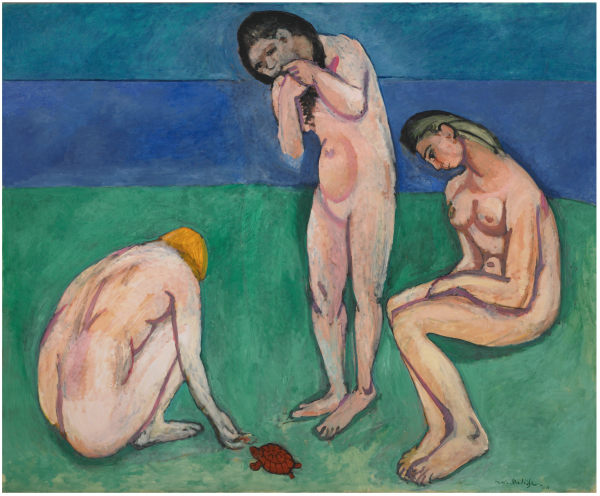 detail from a Matisse painting of three bathers feeding a turtle on a green and blue background