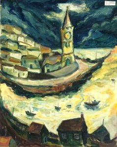Porthleven harbour, Cornwall. Oil painting . Seascape with Mens Institute Porthleven. Cornish harbour village .