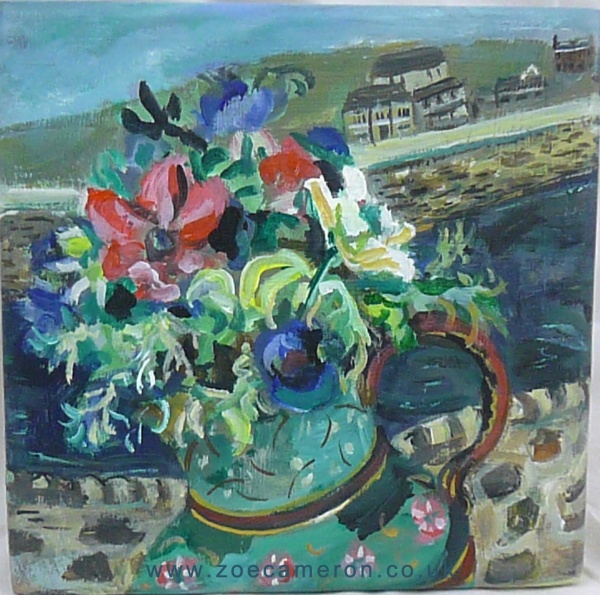 Porthleven anemones, Mothers day, Cornish flowers in the window ,women artists, gallery, oil painting, still life.