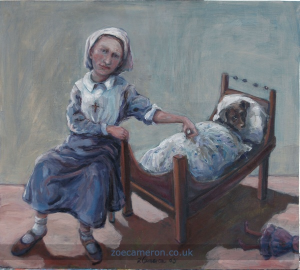 Nurse, oil painting, child and pet dog, Cornish painter, women artist,  collectors