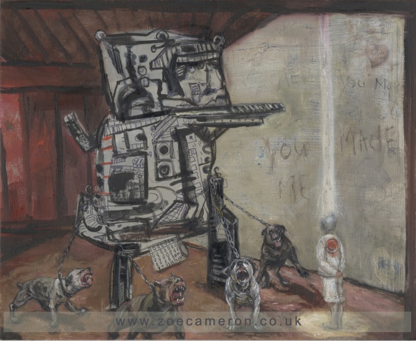 Painting in which the Image portrays a bully ( like a machine), who controls 4 angry dogs, while abusing a victim.